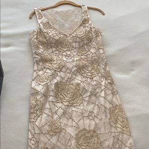 Sue Wong beaded champagne cocktail dress